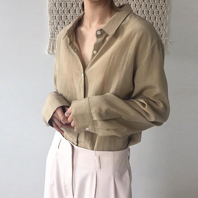 eb618740679 여성 루즈핏 소매 핀턱 셔츠 남방
